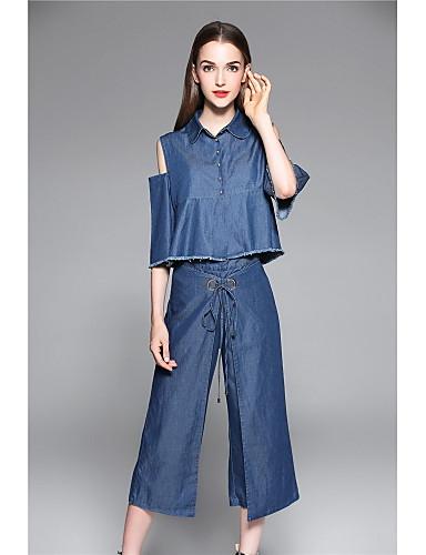 Mikroelastisk Kortermet,Skjortekrage قميص Bukse Drakter Ensfarget Vår Sommer Enkel Ferie Ut på byen Fritid/hverdag Dame