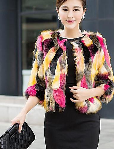 Women's Simple Fur Coat Print