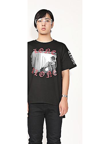 Bomull Rund hals T-skjorte Herre Trykt mønster Fritid / Gatemote / Punk & Gotisk Sport / Kortermet