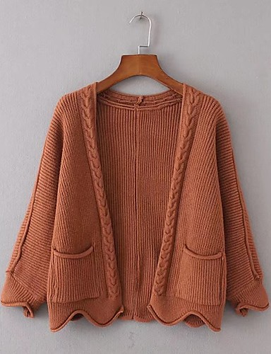 Women's Going out Casual/Daily Simple Street chic Regular Cardigan,Solid Stand Long Sleeves Wool Winter Spring Thin Micro-elastic