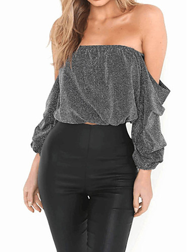 Women's Going out Club Sexy Winter Fall Blouse,Solid Off Shoulder Long Sleeves Nylon Spandex Medium