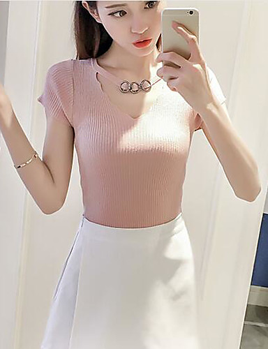 Women's Daily Casual Regular Pullover,Solid Round Neck Short Sleeves Others Summer Medium Stretchy