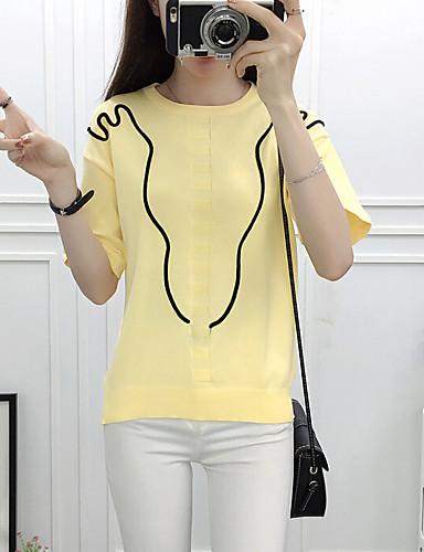 Normal Cardigan Fritid/hverdag Dame,Ensfarget Rund hals Kortermet Ull Sommer 580D Mikroelastisk