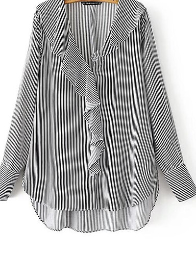 Women's Going out Casual/Daily Street chic Fall Shirt,Striped V Neck Long Sleeves Cotton