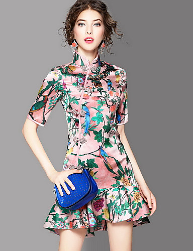 Women's Going out Vintage Sheath Dress,Print Stand Above Knee Short Sleeves Polyester Summer Mid Rise Micro-elastic Medium