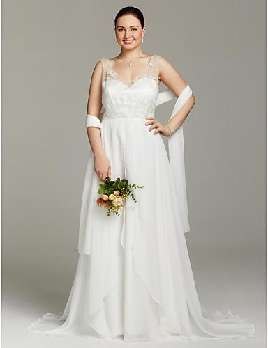 Linha A Decote V Cauda Escova Chiffon Tule Vestidos de noiva personalizados com Renda Drapeado Lateral de LAN TING BRIDE®