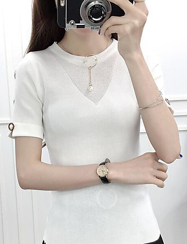Women's Daily Casual Regular Cardigan,Solid Round Neck Short Sleeves Cotton Summer Medium Micro-elastic