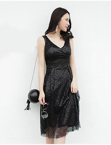 Women's Casual/Daily Sheath Midi Dress,Solid V Neck Sleeveless Summer High Rise