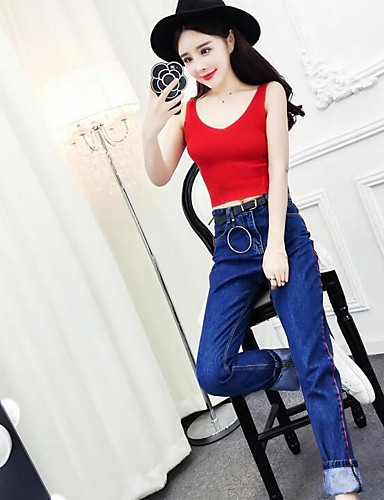 Women's Daily Casual Casual Summer Tank Top Pant Suits,Color Block Round Neck Sleeveless Cotton strenchy