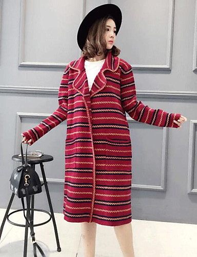 Women's Going out Regular Cardigan,Color Block Round Neck Long Sleeves Others Spring Fall Medium Micro-elastic