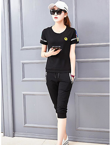 Women's Club Casual Cotton T-shirt - Solid Colored Pant / Summer