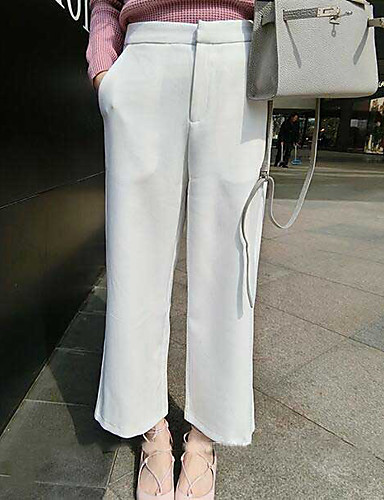Women's Mid Rise Micro-elastic Culotte Chinos Pants,Simple Street chic Wide Leg Solid