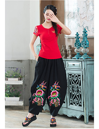 Women's Chinoiserie Loose Wide Leg Relaxed Pants - Embroidery
