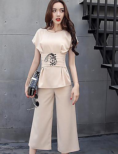 Kort Erme,Rund hals T-skjorte Bukse Drakter Ensfarget Sommer Moderne Daglig Avslappet Dame