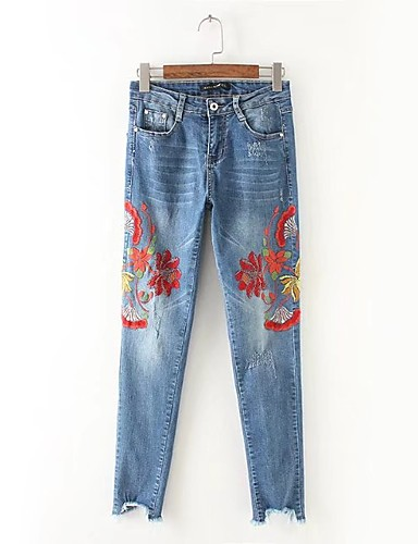 Women's Mid Rise Micro-elastic Jeans Pants,Street chic Straight Ripped Embroidered