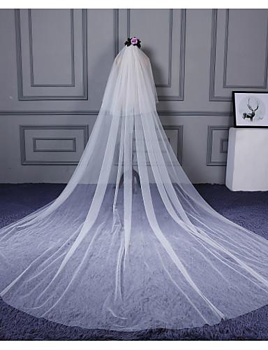 Kétkapcsos Vágott szegély Menyasszonyi fátyol Katedrális fátylak A Fodrozott Tüll