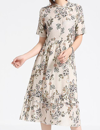 Women's Casual/Daily A Line Sheath Dress,Floral Round Neck Midi Short Sleeves Cotton Polyester Summer Mid Rise Micro-elastic Medium