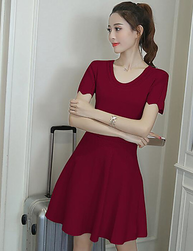 Women's Going out Cute A Line Dress,Solid Round Neck Above Knee Short Sleeves Polyester Summer Mid Rise Micro-elastic Medium