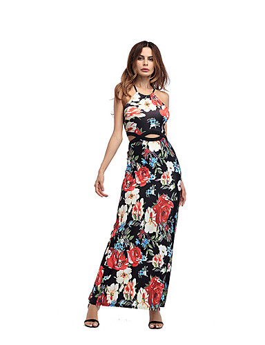 Women's Holiday Going out Club Beach Vintage Sexy Sophisticated Sheath Dress,Floral Strap Maxi Sleeveless Polyester Summer High Rise