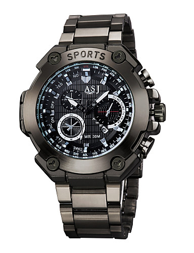 ASJ Men's Necklace Watch Water Resistant / Water Proof / Large Dial Alloy Band Casual / Word Watch Black / Two Years / Maxell SR626SW + SEIKO CR2025