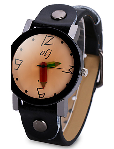 Women's Wrist Watch Chinese Cool / Large Dial Leather Band Fashion / Unique Creative Watch Black / White