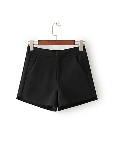 Women's Mid Rise strenchy Chinos Shorts Pants,Street chic Relaxed Pure Color Solid