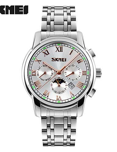 SKMEI Men's Fashion Watch Wrist watch Quartz Stainless Steel Band Silver