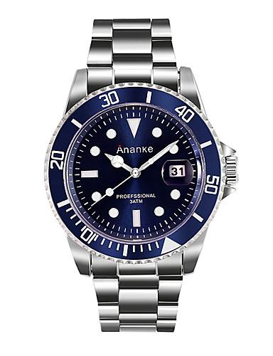 Homens Relógio Elegante Relógio de Moda Quartzo Noctilucente Aço Inoxidável Banda Casual Prata
