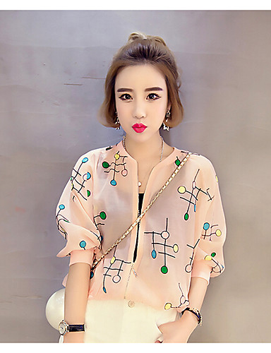Women's Daily Casual Summer Jacket,Print Round Neck 1/2 Length Sleeve Short Polyester