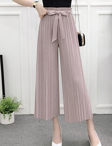 Women's Casual Wide Leg Relaxed Pants - Solid Colored