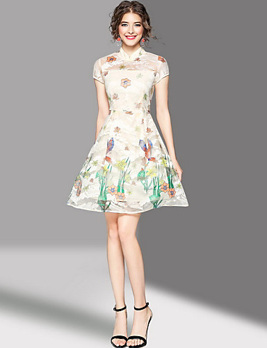 Women's Going out Cute A Line Dress,Print Stand Above Knee Short Sleeves Polyester Summer Mid Rise Micro-elastic Medium