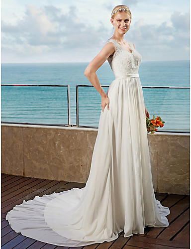 A-Line V Neck Chapel Train Chiffon Made-To-Measure Wedding Dresses with Appliques / Sashes / Ribbons by LAN TING BRIDE® / Open Back