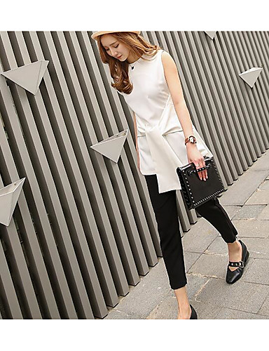 Women's Casual Formal Summer Blouse Pant Suits,Solid Round Neck Sleeveless Mixed Color Inelastic