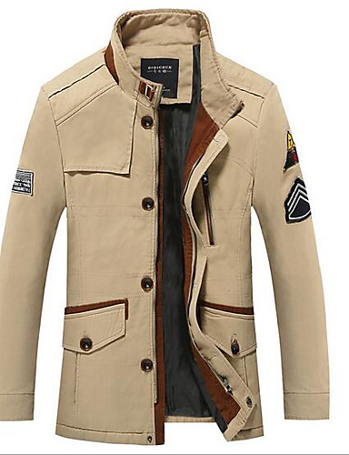 Men's Casual/Daily Simple Winter Fall Regular Leather Jacket, Solid Stand Polyester Others