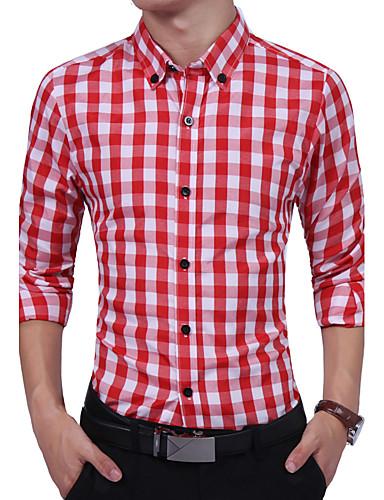 Bomull Rayon Tynn Langermet,Skjortekrage Skjorte Geometrisk Fargeblokk Rutet Alle årstider Vintage Chinoiserie Daglig Plusstørrelser