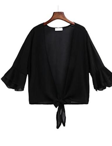 Chiffon Kort V-hals Cloak / Capes Ensfarget Sommer Moderne / Nutidig Daglig Dame