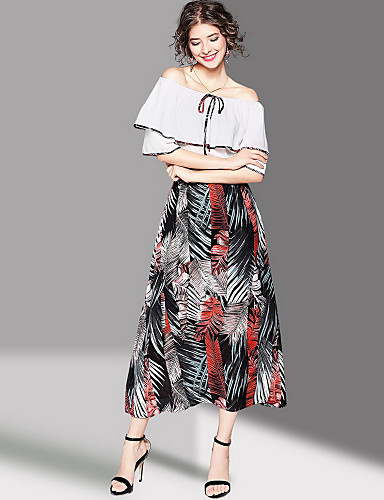 Women's Going out Cute Sheath Dress,Print Boat Neck Maxi Half Sleeves Polyester Summer Mid Rise Micro-elastic Medium