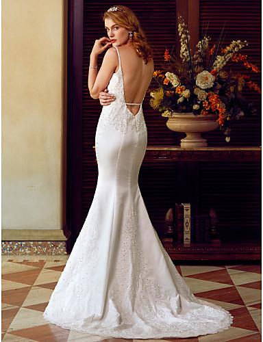 Mermaid / Trumpet Spaghetti Straps Sweep / Brush Train Satin Wedding Dress with Beading Appliques Pearl Detailing by LAN TING BRIDE®