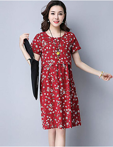 Women's Daily Going out Skater Dress,Solid Dot Round Neck Knee-length Short Sleeves Cotton Polyester Spring Summer Mid Rise Micro-elastic