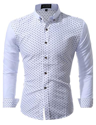 abordables Camisas de Hombre-Hombre Negocios / Tejido Oriental Fiesta / Trabajo / Discoteca Jacquard / Estampado - Algodón Camisa Blanco L / Manga Larga / Playa