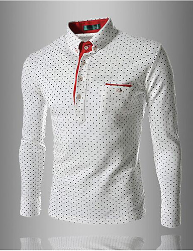 Men's Daily / Work / Weekend Cotton / Others Polo - Solid Colored Shirt Collar / Long Sleeve