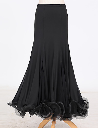 cheap Ballroom Dancewear-Ballroom Dance Women's Performance Tulle Milk Fiber Ruched Natural Skirts