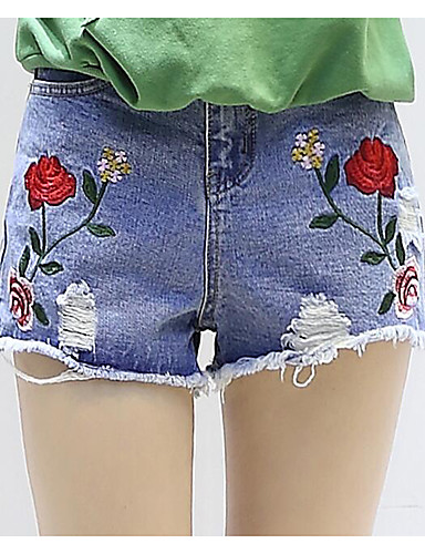 Women's High Rise Inelastic Shorts Pants,Simple Straight Embroidered