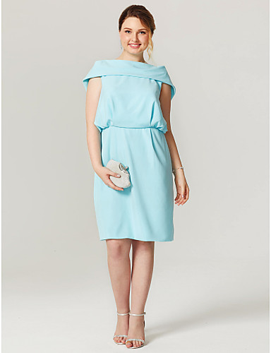 Sheath / Column Bateau Neck Knee Length Chiffon Cocktail Party / Homecoming Dress with Pleats by TS Couture®