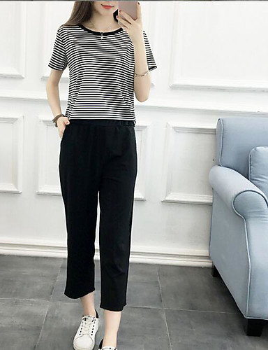 Women's Other Casual Casual Summer Shirt Pant Suits,Other Round Neck Short Sleeve Cotton/nylon with a hint of stretch Inelastic
