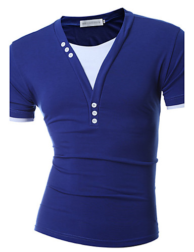 男性用 純色 Tシャツ 活発的 Vネック スリム ソリッド ブルー & ホワイト / 半袖 / 夏