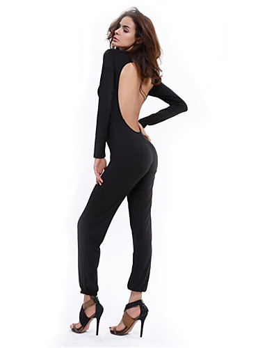 Women's Cotton Jumpsuit - Solid Colored, Backless High Rise Crew Neck