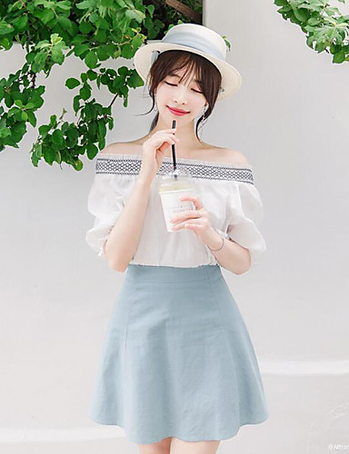 Women's Casual Tunics Summer Blouse Skirt Suits,Solid Round Neck Half Sleeve 100% Cotton