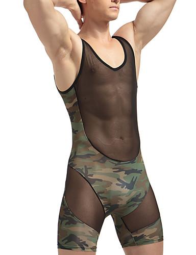 Homens Super Sexy Camiseta Interior camuflagem 1box