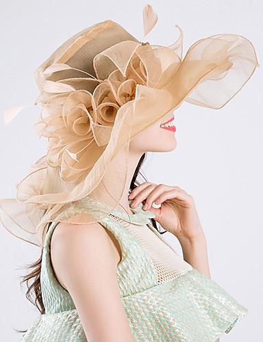 billige Hatte & Imponeringer-Fjær / Silke / organza Kentucky Derby Hat / fascinators / Hatter med 1 Bryllup / Spesiell Leilighet / Fest / aften Hodeplagg